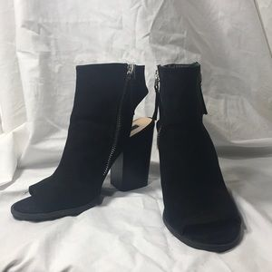 """Forever 21"" Black Suede Cutout Zipped Booties"